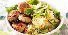Drizzle a zesty lime and sweet chilli sauce over these tasty chicken mince patties and rice noodle salad.