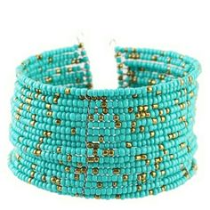 *clearance* Turquoise color beaded cuff This beautiful handmade cuff is sure to be a great addition to your accessories! Discounts given on bundles. 2 of each available. Price is for one cuff, first photo Salty Grace  Jewelry Bracelets
