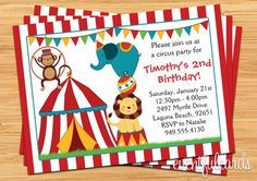 kids carnival birthday party | Circus Birthday Party Invitation for Kids by eventfulcards on Etsy