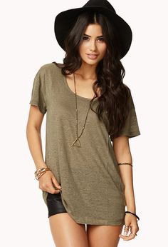 Forever 21 Longline Linen Tee in Green (olive)