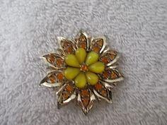 Vintage Floral Flower Brooch Pin Orange Stones Goldtoned 2 inches