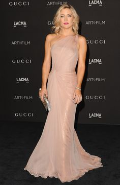 Kate Hudson: The star wore a Gucci Première rose silk chiffon one-shoulder gown featuring a twisted tulle overlay. Her silver satin embroidered clutch added to the glamorous look.