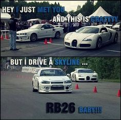 Outrageous is the only way to describe the Bugatti Veyron. The fastest production car in the world with a top speed of Car Guy Memes, Car Jokes, Funny Car Memes, Best Funny Jokes, Car Humor, Really Funny Memes, Auto Meme, Truck Memes, Nissan Gtr Skyline
