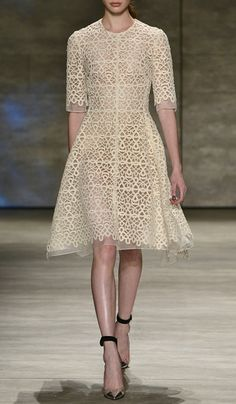 Scrolled Guipure Lace Elbow Sleeve Dress by Lela Rose for Preorder on Moda Operandi