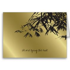 Gold bamboo Wedding Cakes | Bamboo Leaves Black Gold Wedding Invitation Card by fatfatin red knot