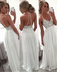 2016 Simple Lace Beading Long Prom Dresses,Cheap Halter Prom Dress,Spaghetti Straps Party Dresses,White Prom Gowns