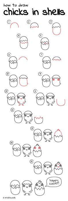 How to draw chicks in shells. Easy drawing, step by step, perfect for kids! Let's draw kids. http://letsdrawkids.com/