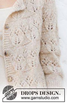 Birch Woods Jacket - Gilet tricoté avec empiècement arrondi et point ajouré, en DROPS Air. Du S au XXXL Modèle tricot gratuit DROPS 202-12