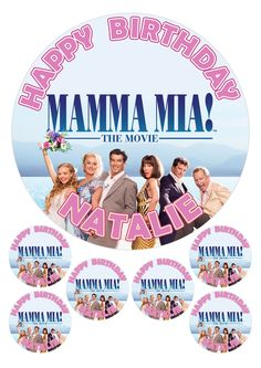 """PERSONALISED MAMMA MIA THE MOVIE 7.5"""" & 6 x 2"""" ROUND EDIBLE TOPPERS CAKE CUPCAKE"""