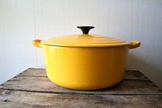 Vintage LeCreuset Dutch Oven Pan Le Creuset France Large 1950s Yellow 5 Quarts