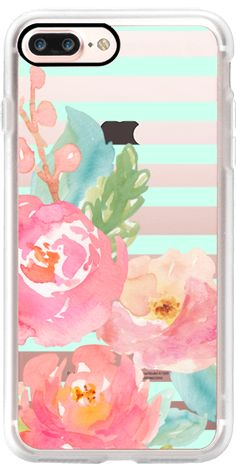 Casetify iPhone 7 Plus Case and other Floral iPhone Covers - Watercolor Floral Sea Foam Stripes by Jande Laulu | Casetify