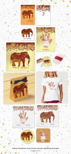Pretty Indian Henna hand tattoo style floral pattern and ornate decorated Indian elephant in rich rustic red and golden yellow tones, fabulous graphics for an Indian Wedding or party.The designs are on invitations, RSVP cards, stickers, labels/tags, favor boxes, table numbers and tee shirts. Stylish, chic, luxury, customtemplate designs ideal for weddings, engagements, anniversaries or an other event.