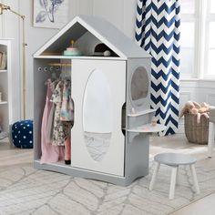 KidKraft Dress Up Armoire Dress Up Wardrobe, Kids Wardrobe, Open Shelving, Adjustable Shelving, Armoire, Dress Up Storage, Vanity Set With Mirror, Fabric Bins, Wood Pieces