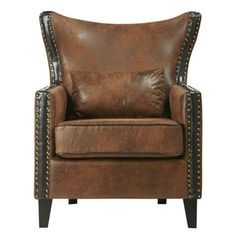 $499 BUY NOW Leather seats have a way of adding warmth and richness to a space. This wingback commands attention, with parallel lines of brass nailheads bordering the back and arms. Users love this piece for its handsome look, distinctive flared silhouette, and top-notch quality material.