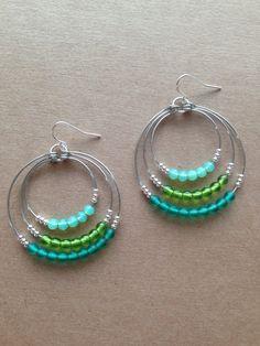 3 hoop beaded earrings / green / silver