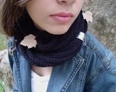 Black scarf  in soft wheat, Hand knitted warmer, scarf necklace, scarf infinity, cowl scarf.