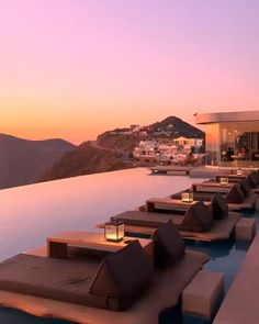 Which view in Greece would you prefer 1 - Santorini or 2 - Mykonos? Most Romantic Places, Beautiful Places To Travel, Beautiful Hotels, Beautiful Sunset, Romantic Travel, Wonderful Places, Vacation Places, Dream Vacations, Best Honeymoon Resorts