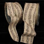 Gold wired fine burlap ribbon with black music notes.  Perfect for crafting and wreath bows!  Available in 2 widths.