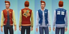 Harry Potter & Doctor Who Letterman Jackets by ERae013 at Adventures in Geekiness via Sims 4 Updates