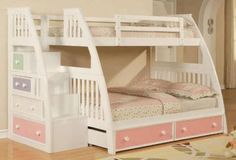 Twin Girl Rooms With Bunkbeds | Monahan Twin over Full Bunk Beds at Totally Kids fun furniture and ...