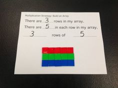 Here's a post on teaching multiplication that includes a workmat on the array model.