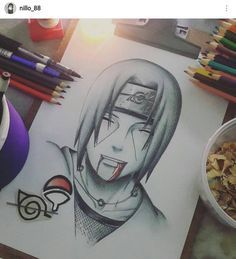 A beautifully hand drawn image of Itachi Uchiha. The artist used colored pencils to depict Itachi, the Uchiha insignia, and the Hidden Leaf image with a strikethrough. Naruto Shippuden Sasuke, Itachi Uchiha, Anime Naruto, Naruto Art, Gaara, Naruto Sketch Drawing, Naruto Drawings, Anime Drawings Sketches, Anime Sketch