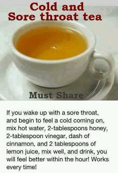 Cold Remedies Cold and sore throat tea - How to Get Rid of Sore Throat? Sore throat or pharyngitis (see Wikipedia: sore throat) refers to a condition characterized by [Read More] Flu Remedies, Herbal Remedies, Bloating Remedies, Holistic Remedies, Allergy Remedies, Homemade Cough Remedies, Natural Health Remedies, Natural Cures, Natural Treatments