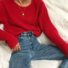 Vintage cherry waffled sweater
