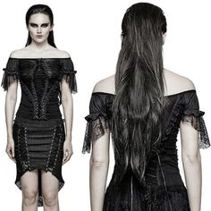 Black Lace Cap Sleeve Off the Shoulder Goth Fashion Dress Top Women SKU-11409420