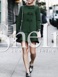 Vestido manga larga volantes -verde 18.42