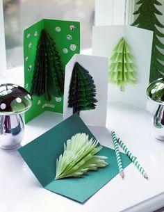Hjemmelavede julekort af tredimentionelle juletræer - Boligliv