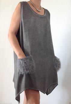 Neu Tunika Kleid Lagenlook Leinen Zipfel Flausch Pailletten Pulli Grau 38 40 42 | eBay