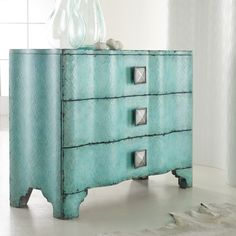 Make a modern statement in your home with this turquoise crackle chest of drawers. Inside drawers features a unique wallpapered interior. Constructed of hardwood solids. Hooker Furniture, Home Office Furniture, Accent Furniture, Painted Furniture, Furniture Ideas, Furniture Refinishing, Bedroom Furniture, Luxury Furniture, Blue Furniture