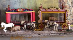 Vintage Folk Art circus wagons and accessories Carnival Hand carved Hand crafted Folk Art figurine animal cage Clown Horse Toy Collectible by tatteredkeepsakes on Etsy https://www.etsy.com/listing/270321737/vintage-folk-art-circus-wagons-and