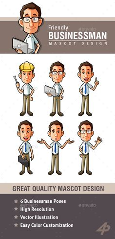 Buy Business Man Mascot by on GraphicRiver. Businessman Mascot is a the best way to welcome visitors to your website or business. Animation Mentor, Animation Reference, People Illustration, Character Illustration, Mascot Design, School Decorations, Character Design References, Cute Characters, Caricature