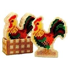 """Plastic Canvas Kit: Country Farm Chicken """"Rooster"""" Coasters (Makes 6) & Holder"""