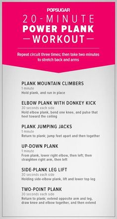 No time to work out? No problem! Do this 20 minute plank workout from fitsugar and be one step closer to flat abs :)