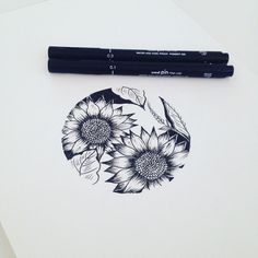 Sunflowers in circle #graphicbyd #minimalisttattoo #minimalistdrawing…