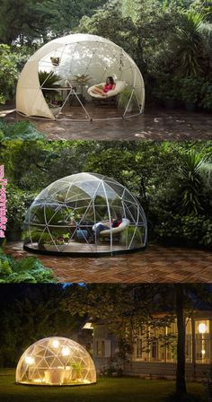 The garden igloo is a transparent canopy for your g . - The garden igloo is a transparent canopy for your G … # Canachin … - Outdoor Spaces, Outdoor Living, Outdoor Decor, Outdoor Ideas, Dome House, Igloo House, House Roof, Backyard Landscaping, Exterior Design