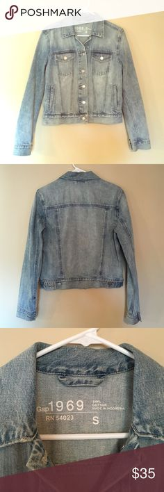 Gap 1969 Jean Jacket in light wash Worn only one to two times. In like new condition. This jean jacket is super soft and is great for all seasons. Light wash makes it easy to go with outfits! Has 6 pockets that can hold your phones and wallets when you go out!! Gap Jackets & Coats Jean Jackets