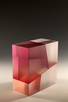 """Jiyong Lee Red and Grey Cuboid Segmentation, 2012  cut, color laminated, carved, glass 10"""" x 9"""" x 5"""""""
