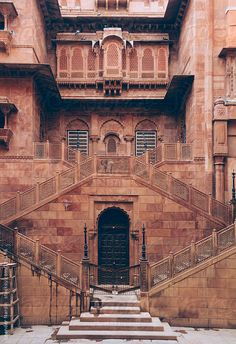 Symmetric staircase in an ancient indian fort by Leander Nardin rnrnSource by louwicksteed Indian Temple Architecture, India Architecture, Historical Architecture, Ancient Architecture, Architecture Details, Renaissance Architecture, Gothic Architecture, Beautiful Buildings, Beautiful Places