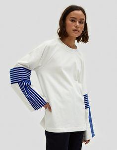 Velvet Stripe T-Shirt in Royal Blue