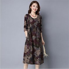 New Arrival 2017 Autumn Dresses Vintage Casual Robe Long Sleeve O-Neck Printed Dress Loose Cotton Linen Women Long Dress Vestido