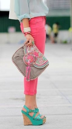 coral capris, loose baby blue blouse, cute teal wedges and hippie handbag