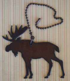 $10.99 Moose Rustic Metal Ceiling Fan Pull or Light Pull perfect for Lodge Decor . Made in USA . Free Shipping