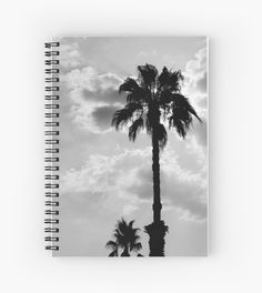 Buy Any 2 & Get 15% OFF  -- Palm Trees In Black and White Spiral Notebooks by ARTbyJWP from Redbubble #notebook #journal #stationery #palmtrees #spiralnotebook  ---   Black and white capture of palm trees silhouettes on a cloudy sky. • Also buy this artwork on stationery, apparel, stickers, and more.