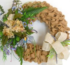 Beautiful Burlap  Spring and  Summer  Front by ArtificialWreaths, $76.00
