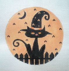 Beautifully hand painted 4 Cat in the Hat on a Fence, Zweigart canvas, mailed insured Funny Needlepoint, Needlepoint Pillows, Needlepoint Designs, Needlepoint Stitches, Needlepoint Kits, Needlepoint Canvases, Embroidery Stitches, Embroidery Patterns, Cross Stitch Patterns
