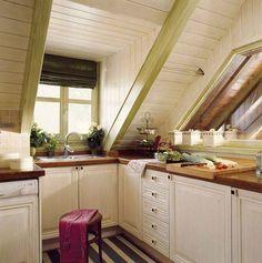 Inviting attic kitchen